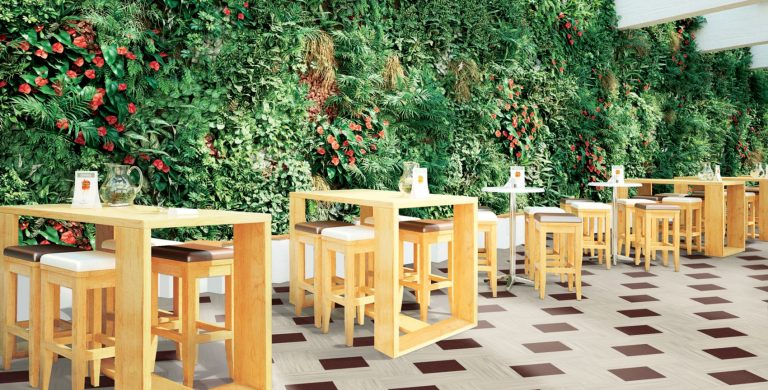 A PVC-free solution combining biophilic designs, reduced maintenance, and long-term performance. Available in 12 in. x 24 in. tiles.