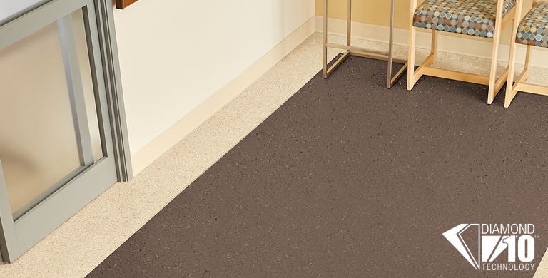 The soft palette creates a home-like feel for comforting and healing environments. These colors can stand alone or coordinate nicely with our Medintone sheet flooring. With more than 30 years of performance in sterile and aseptic environments, Medintech is a perfect fit for medical and healthcare spaces.