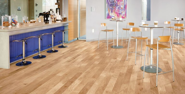 The stunning look of hardwood balanced with commercial performance.  Two times the hardness of regular hardwood floors. Scratch- and stain-resistant finish for high-traffic commercial environments.