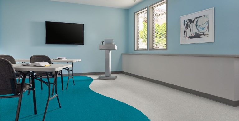 Medintone sheet flooring offers a complete spectrum of soft tonal neutrals and bright pops of color perfect to orient visitors and create engaging learning environments. The colors are designed to match other interior finishes to complete the look of the space. Medintone elevates the aesthetics of educational and healthcare spaces.