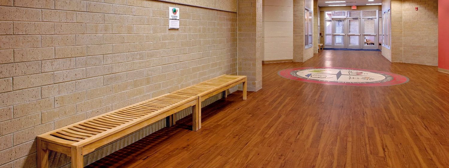 Armstrong flooring commercial spirited education greet students with custom inlay applications to boost school pride luxury vinyl flooring delivers classic wood designs that stand up to dailygadgetfo Image collections