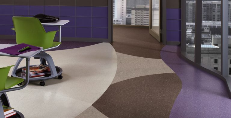 Expert installation of Premium Excelon ChromaSpin Vinyl Composition Tile in an educational environment
