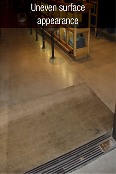 uneven surface appearance with concrete floor