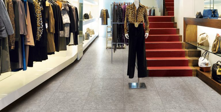 Retail store flooring with stone look