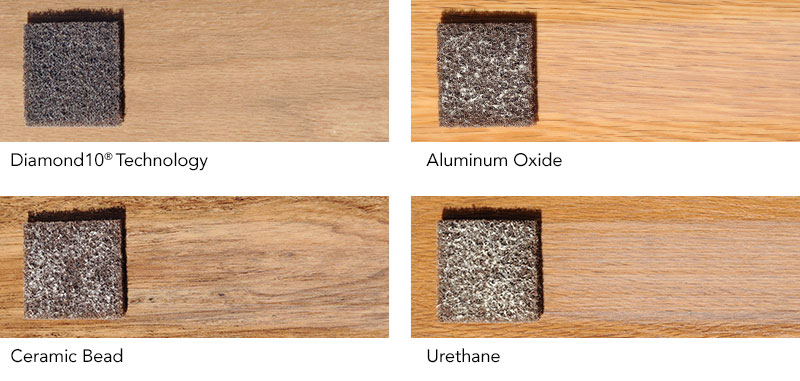 Armstong Flooring scratch test: Diamond 10 Technology, akumiunum oxide, ceramic bead, urethane