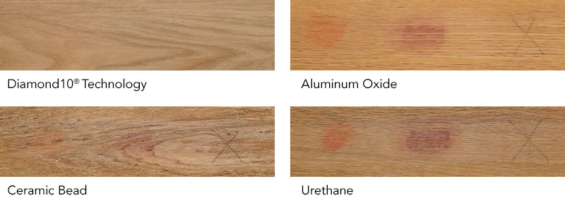 Armstong Flooring stain test: Diamond 10 Technology, akumiunum oxide, ceramic bead, urethane