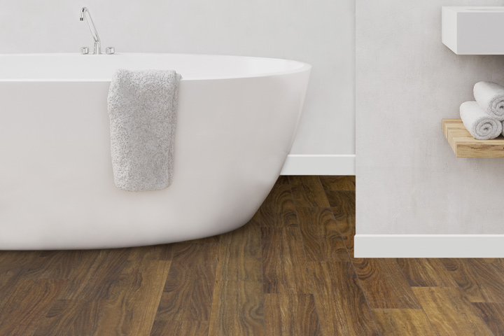 A realistic timber look rigid core floor design in a bathroom