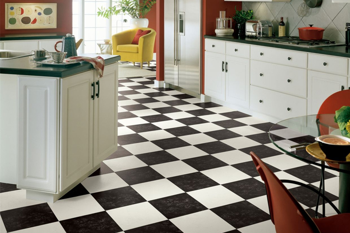 kitchen flooring in black and white vinyl  Landmark I Collection Bessemer Vinyl Sheet G6A23 Black White Flooring