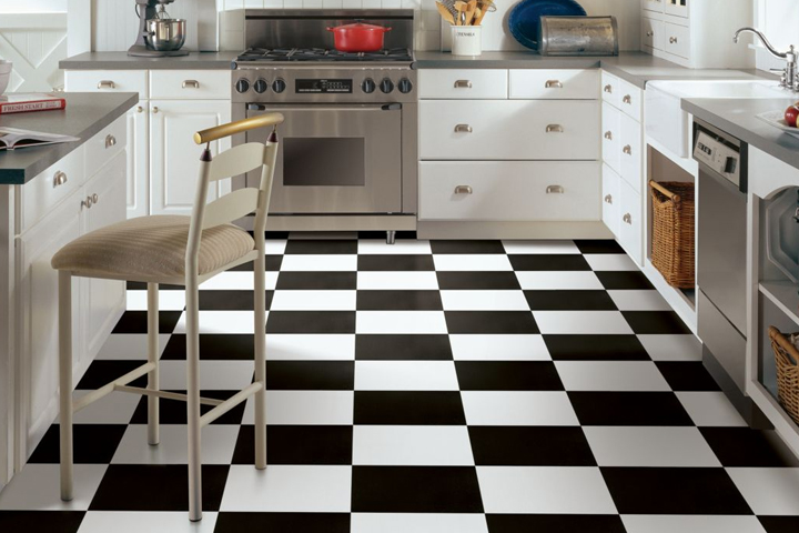 black and white floor tile kitchen.  Black White Vinyl Flooring