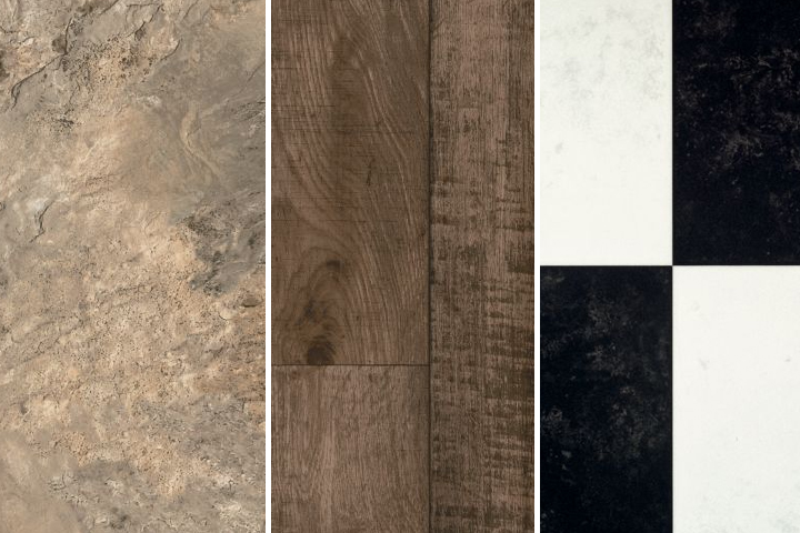vinyl sheet is available in stone, wood, and black and white styles