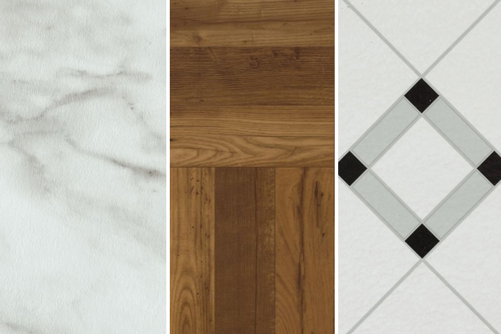vinyl tile has stone, wood, and checkerboard styles available