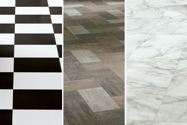 vinyl tile available in black and white, wood look, and marble look