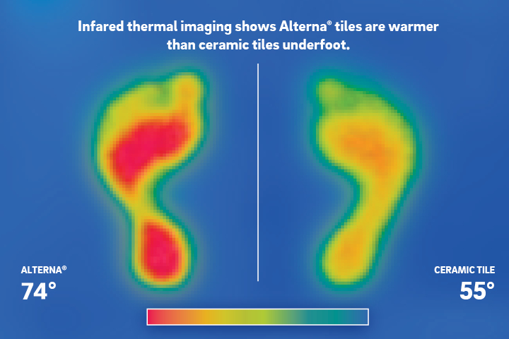 Proof through a thermal image that engineered stone tile is warmer underfoot