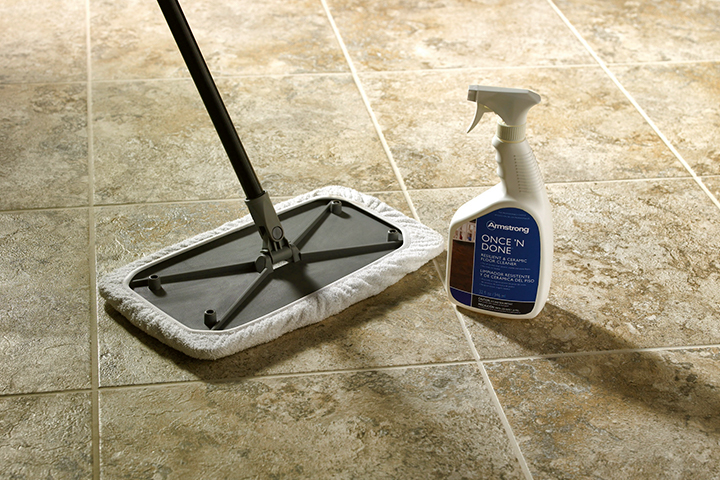 cleaning solution for caring for engineered stone floors