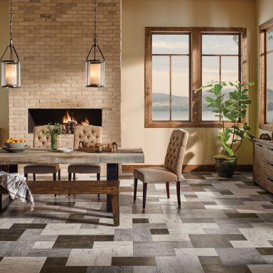 multi-colored engineered stone floors for the dining room