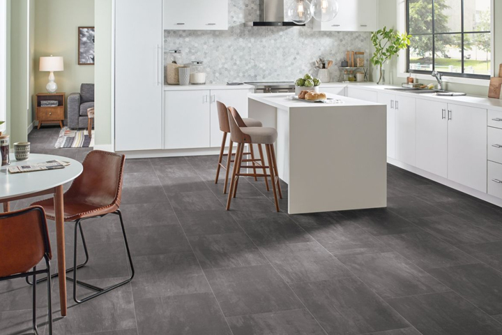 Gray Vinyl Sheet Flooring In A Kitchen B6323
