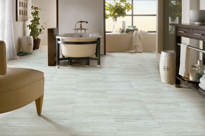 White Vinyl Tile Flooring In A Bathroom A3263 Artic