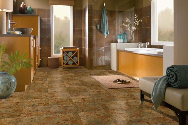 Vinyl tile in the bathroom: Patina Shale - A3101