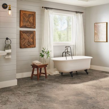 bathroom flooring with a stone look