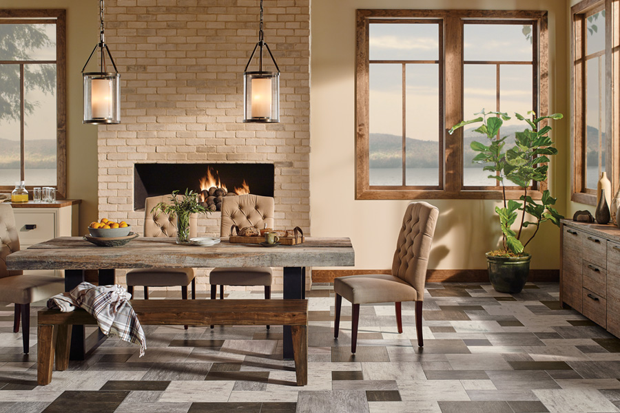 stunning dining room floor in stone look d6365 engineered tile - Dining Room Floor Tiles