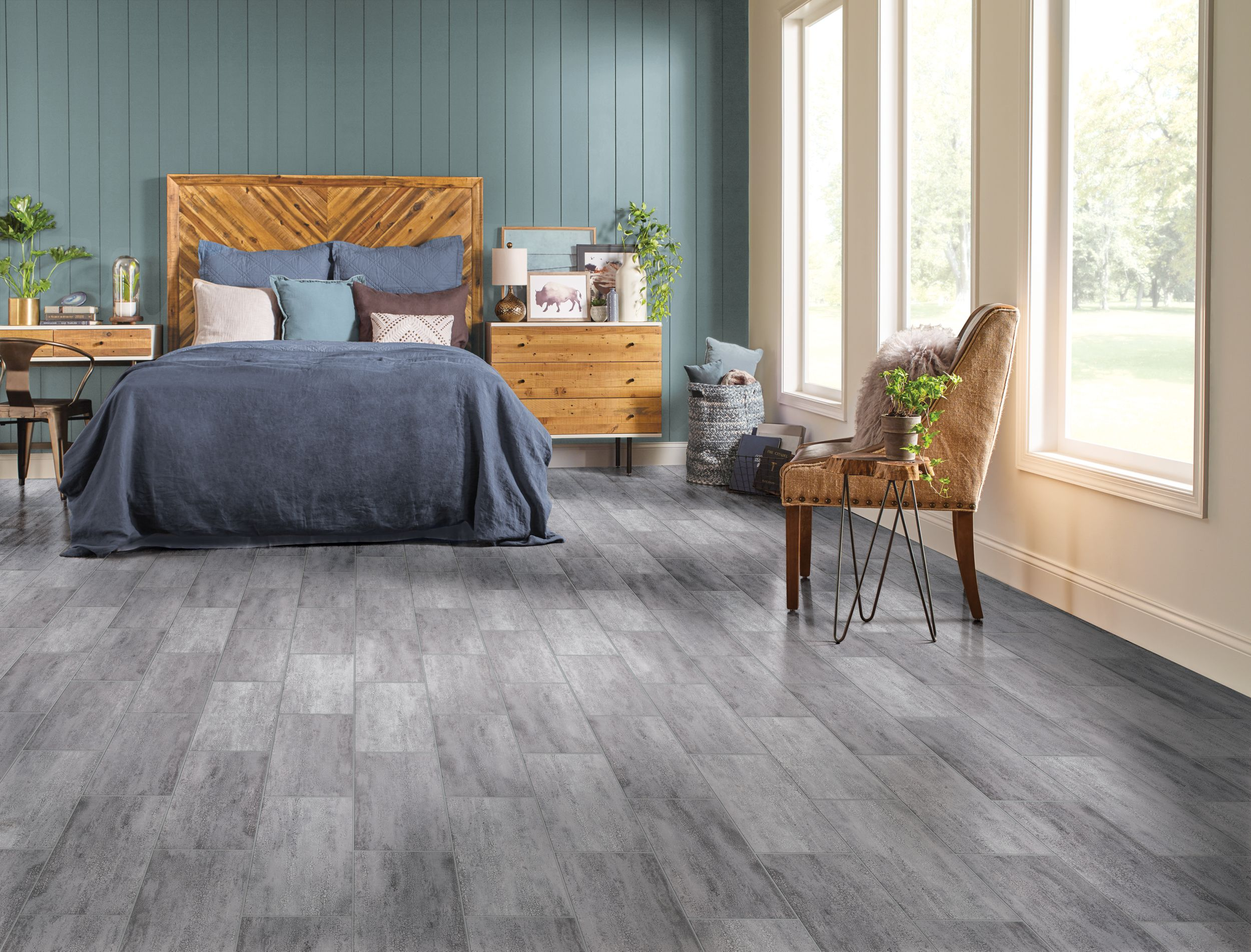 Bedroom flooring with PRYZM rigid core hybrid flooring